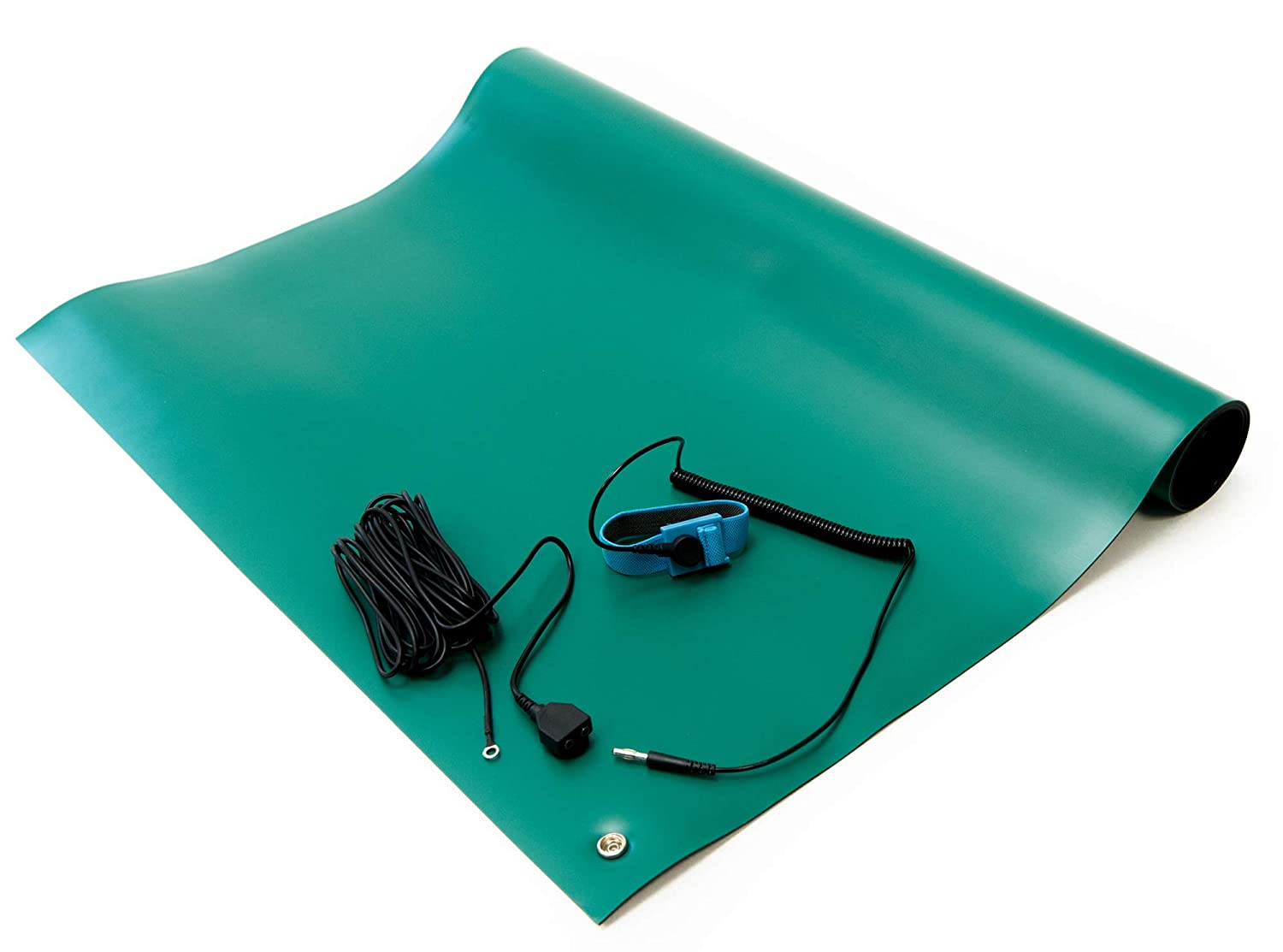 Bertech Rubber ESD Soldering Mat Kit with a Wrist Strap and Grounding Cord, 2' Wide x 3' Long, Green 61BZ7SZNDML