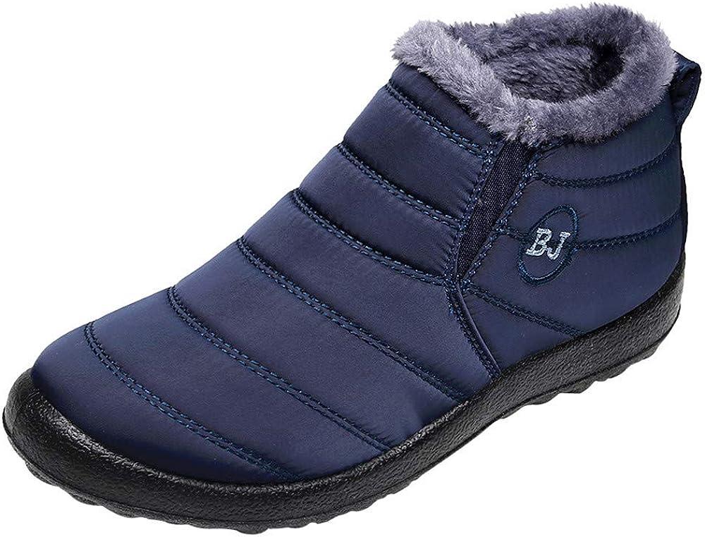 Aritone Women Shoes Winter Snow Boots Waterproof Anti-Slip Flat Ankle Boots Faux Fur Lined Lightweight Sneaker Booties