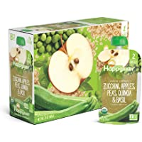 16-Pack Happy Baby Organic Clearly Crafted Stage 2 Baby Food Zucchini, Apples Peas Quinoa & Basil, 4 Ounce Pouches