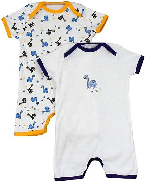 Pelele de bebé de 100% algodón para el verano para niños y niñas con motivos de impresión en un paquete doble. Dinosaurios Talla:80: Amazon.es: Bebé
