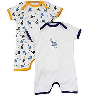 MRULIC Baby Strampler M/ädchen und Jungen Einteilige Cartoon Gestreiften Bodysuit Kurzarm Overall Sommer Jumpsuit 0-6 Monate, X-Braun
