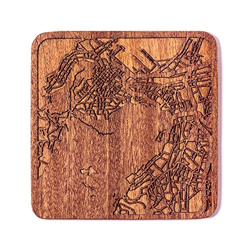 Cape Town Map Coaster by O3 Design Studio, 1 piece, Sapele Wooden Coaster With City Map, Handmade, Multiple city optional