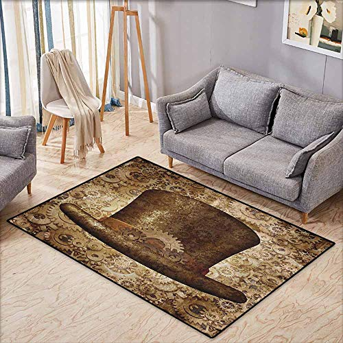 Rectangular Rug,Victorian Decor Collection,Steampunk Top Hat as a Science Fiction Concept Made of Metal Copper Gears and Cogs Image,Large Area ()
