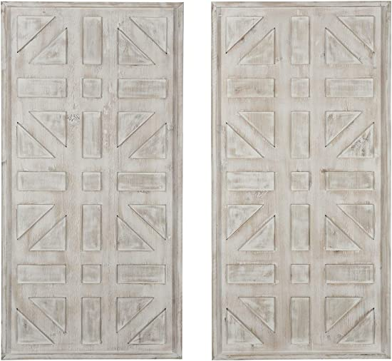 Ashley Furniture Signature Design – Dubem Wall Decor – Set of Two – Casual – Antique White