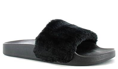 5e1517ce3714 Definitely You Ladies Womens Ella Faux Fur Trim Fashion Sliders Peep Toe Flat  Slip On Sandals