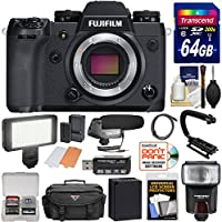 Fujifilm X-H1 Wi-Fi Digital Camera Body with 64GB Card + Battery + Case + Flash + LED Video Light + Microphone + Stabilizer + Kit