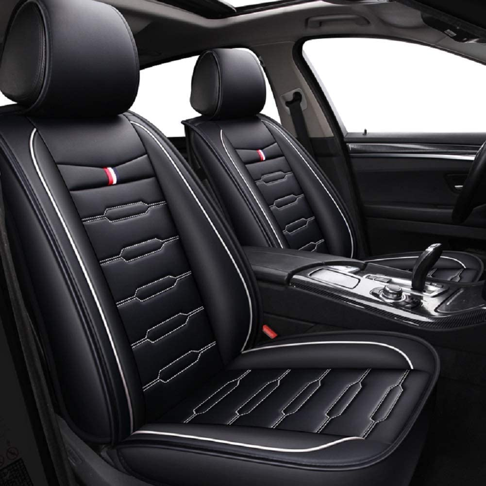 Fit Most Car SUV Black and Blue or Van Full Set Universal Fit 5 Seats Car Seat Covers Leatherette Seat Covers Waterproof Breathable 5 Seats Full Set Front Back Cover 12 PCS