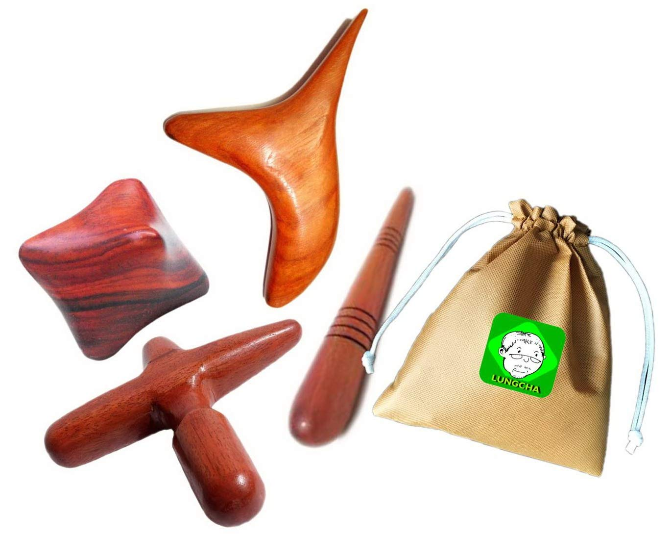 Lungcha Traditional Thai Massage Wooden Stick Tool, Reflexology, Acupuncture Point Gua Sha for Body, Foot, Hand, Head, Face, Nose, Neck, Back, Waist Massage (Set 4 Body Hand Foot Massage) by Lungcha