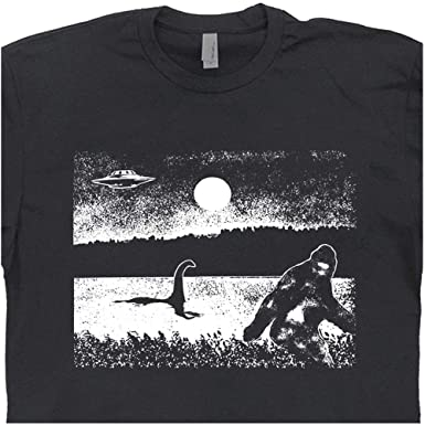 b0045e62 S - Cryptozoology Bigfoot T Shirt Loch Ness Monster Tee UFO Graphic Nessie  Sasquatch Alien Area