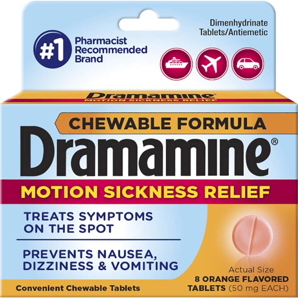 Dramamine Chewable Formula Motion Sickness Relief, 8 Orange Flavored Tablets each (Value Pack of 10) by Dramamine