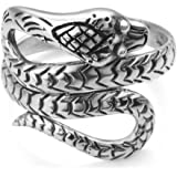 SUVANI 925 Oxidized Sterling Silver King Cobra Coil Snake Band Ring Men Women Unisex Size 6, 7, 8