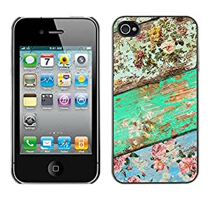Soft Silicone Rubber Case Hard Cover Protective Accessory Compatible with Apple iPhone? 4 & 4S - wood texture green floral pattern