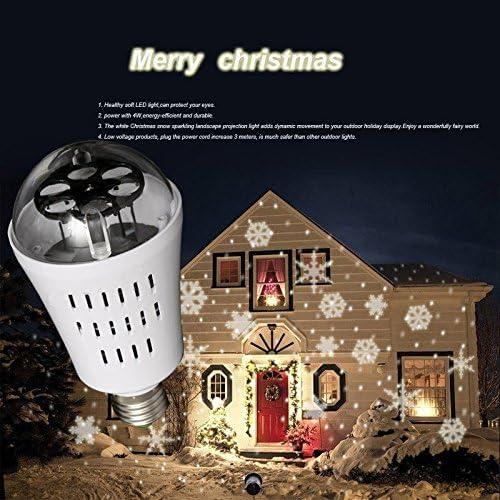 PSTAR Led Light Bulb,Snowflake Auto Rotating Led Lights Christmas Lights Moving LED Lamp E27 Base 4W Crystal Ball Stage Light for Birthday, Holiday, Wedding, Party, Christmas Decor – White