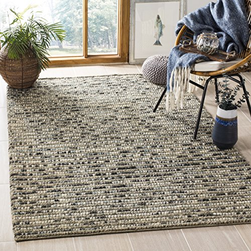 Safavieh Bohemian Collection BOH525K Hand-Knotted Grey and Multi Jute Area Rug (8' x (Wool Area Accent)