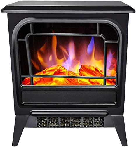 Ogiugihhkgg 1500w Free Standing Electric Fireplace Stove Upright Heater With Temperature Adjustable Black Home Kitchen