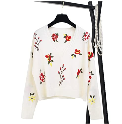 CHLXI Suéter con Bordados Flores V Cuello Corto Sección,L-White