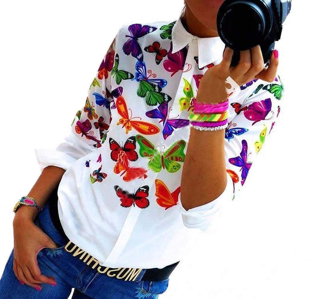Primavera e Autunno Donne Camicie Casual Stampa Cucitura Shirt Tops Blouse Maglietta Moda Risvolto Maglie a Manica Lunga T-Shirts Bluse Camicetta