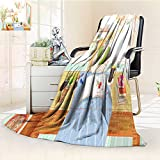YOYI-HOME Lightweight Summer Duplex Printed Blanket, A Literary Maiden Reading a Book