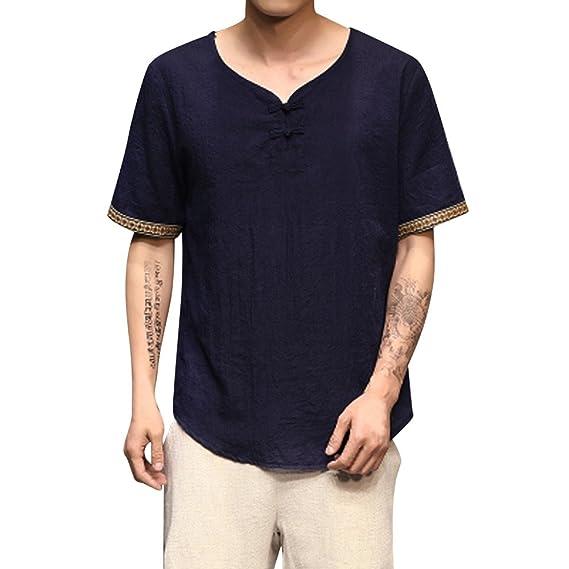 Gusspower Camiseta Hombre Casual Verano de Lino Cuello en V Manga Corta para Hombre Camisa Básica