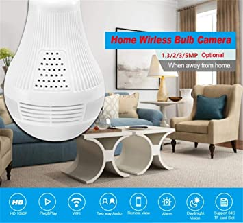 Balscw-J 360 Grado Ojo de pez Lente 960P HD WiFi inalámbrico cámara IP LED Bombilla cámara espía Oculta Vista panorámica con monitoreo en Tiempo Real de ...