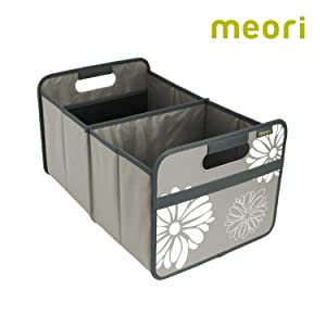 meori Classic Large, Stone Grey with Flowers, Collapsible Box to Organize, Store and Carry Anything and Everything, 1 Pack,