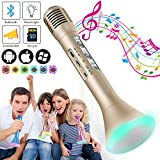 Wireless Kids Karaoke Microphone with Bluetooth Speaker, Portable Handheld Karaoke Player for Home Party KTV Music Singing Playing, Support iPhone Android IOS Smartphone PC iPad (Golden)