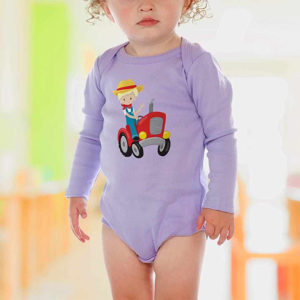 Amazon.com: Boy Red Tractor Blond - Body de algodón de manga ...