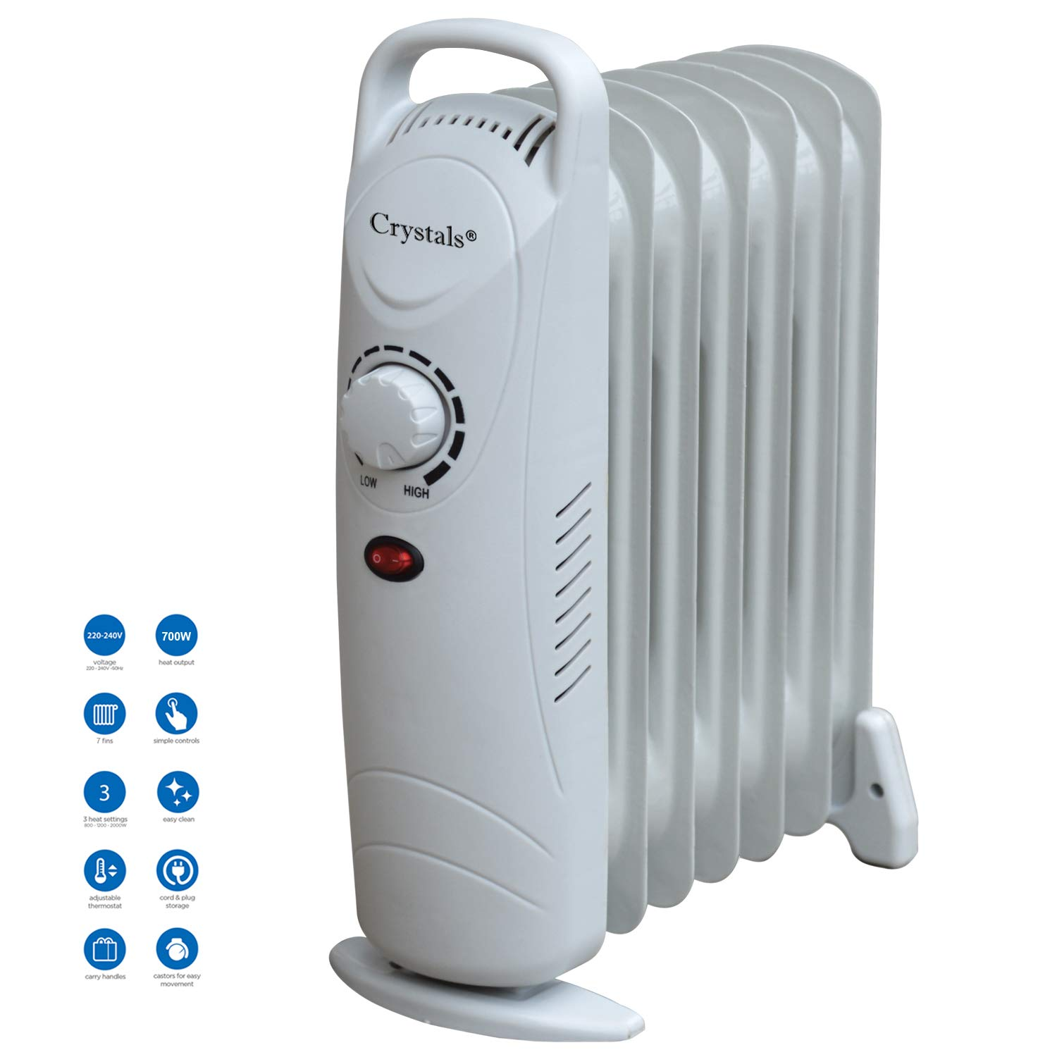 Denny Shop 5 7 9 /& 11 Fin Oil Filled Radiator 240V Electric Portable Heater With Timer /& 3 Heat Setting Thermostat by Crystals/® 5 Fins 500W