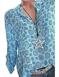 33922e9ed6342 Women Blouse Hot Sale,Farjing Women Plus Size Print Long Sleeve Polka Dot  Button Blouse