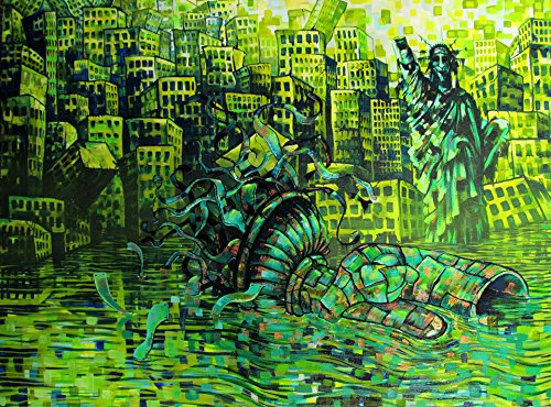 (RW2 Signed Liberty Lost Limited Edition Print Surrealism Art by Robert Walker surreal painting apocalyptic green Statue of Liberty NYC)