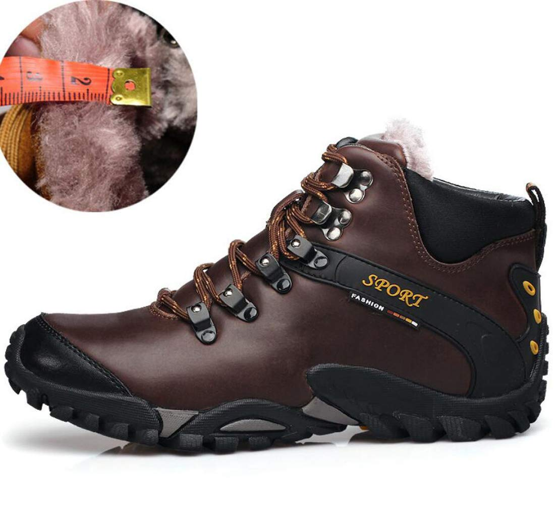 DANDANJIE Scarpe da Trekking da Uomo Casual Winter Plus Velluto Outdoor Scarpe Grandi (colore   Coffee, Dimensione   40 EU)
