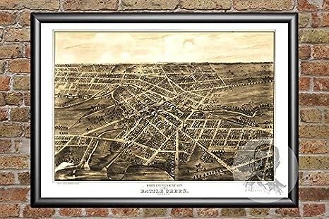 Amazon Com Ted S Vintage Art Battle Creek Michigan 1870 Vintage Map Print Historic Calhoun County Mi Art Digitally Restored On Museum Quality Matte Paper 12 X 18 Posters Prints