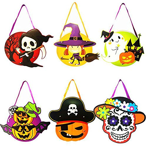 Trick Or Treating Ideas For Costumes (Beser Halloween Trick Or Treat Drawstring Goody Bags-6 Pack Costume Candy Totes Bag,Loot Bag,Toy Goody Gifts for Kids Party Favors,Snacks,Decoration Children Arts,Crafts,Event Supplies. (Style-A))