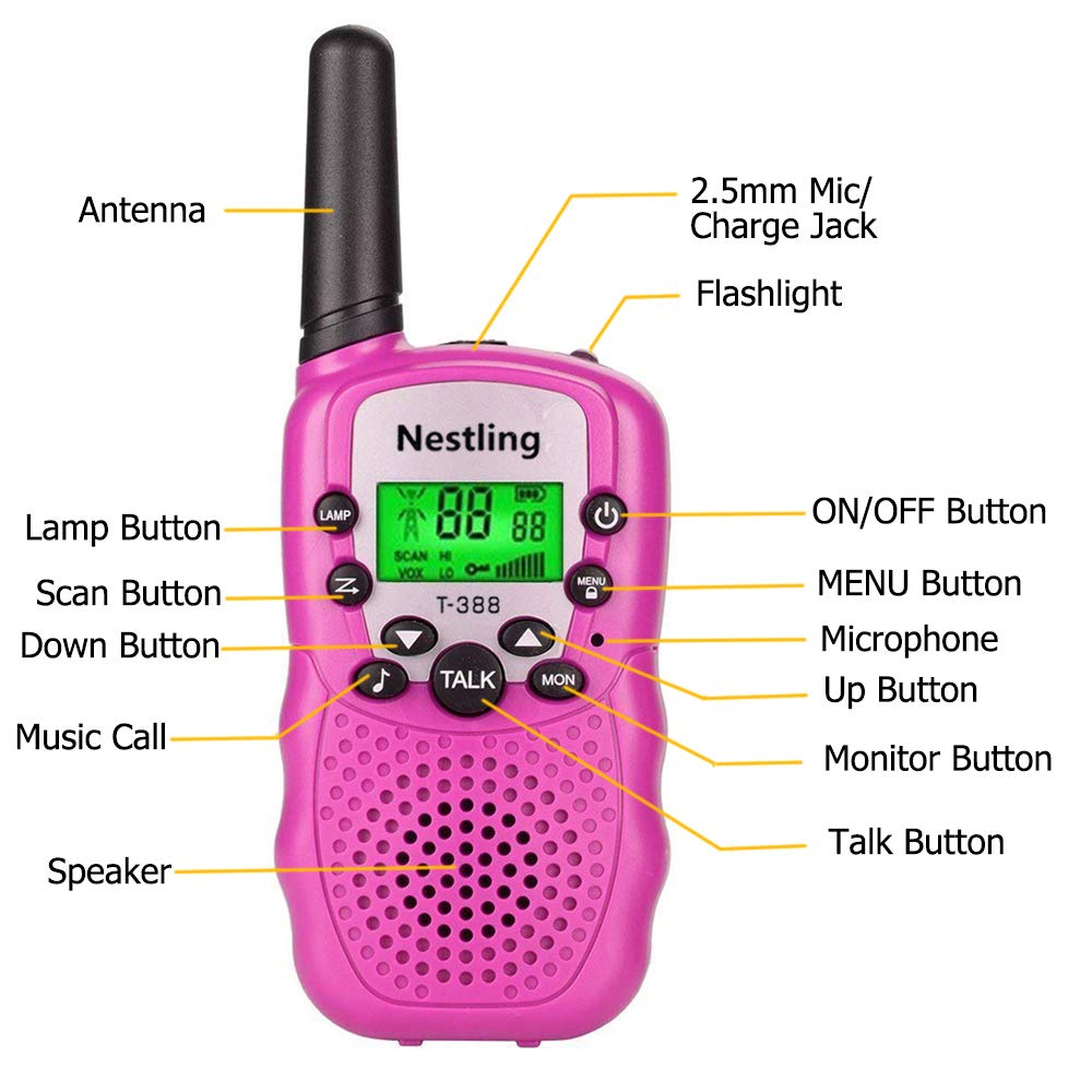 Walkie Talkies, Toy Phone, Long Range Walkie Talkies for Kids 3 Mile Range 22 Channels 3 Pack Kids Two Way Radios Quality Toys Birthday Gift Camping Gear Games for Boys and Girls (Pink,Yellow,Blue) by Nestling (Image #2)