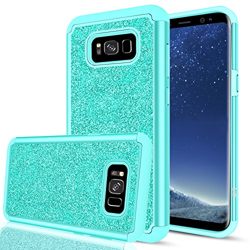 Galaxy S8 Plus Glitter Case for Girls Women Bling Cute (Not Fit S8), LeYi Design [PC Silicone Leather] Dual Layer Hybrid Heavy Duty Protective Phone Case Cover for Samsung Galaxy S8 Plus TP Mint