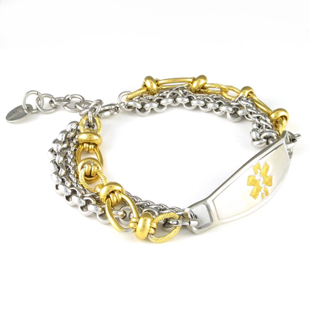 Women's Medical Alert ID Bracelet | NEW Adjustable Size | FREE Engraving Included | Gold Antique, Stainless Steel - Trio | Fits Wrists 5.75'' - 8''