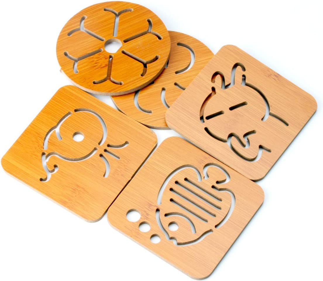 Muniso Cartoon Cat Openwork Wooden Coasters Anti Scalding Coasters Heat Resistant Mats For Home And Kitchen Use Home Kitchen Home Décor