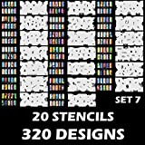 Custom Body Art Airbrush Nail Stencils - Design Series Set # 7 Includes 20 Individual Nail Templates with 16 Designs each for a total of 320 Designs of Series #7