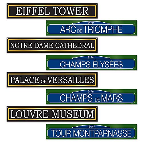 French Street Sign Cutouts (Paris Party Decorations)