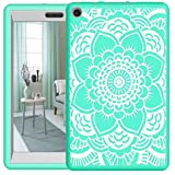Hocase Fire HD 8 2017 Girls Case Drop Resistant Hybrid Dual Layer Protective Hard Rubber Case with Cute Flower Design for Fire HD 8 Tablet (7th Generation) - Teal/Grey