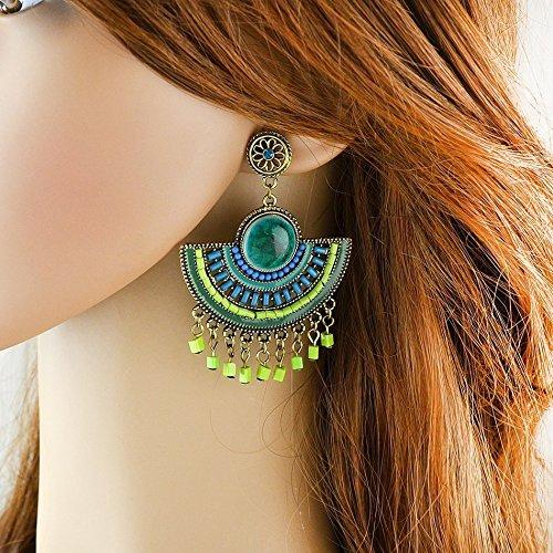 Shaped Tassel (JD Million shop Indian Jewelry Bohemia Earring Green Blue Black Beads Fan-shaped Chandelier Earrings with Tassel)