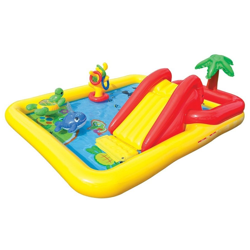 Kids-Inflatable-Pool. Small Kiddie Blow Up Above Ground Swimming Pool Is Great For Kids & Children To Have Outdoor Water Fun With Slide, Floats & Toys. This Ocean Baby Swim Pool - Light & Portable.