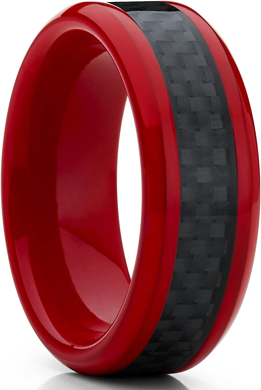 Metal Masters Co. 8MM Red Tungsten Ring Men's Wedding Band with Black Carbon Fiber Inlay, Comfort Fit