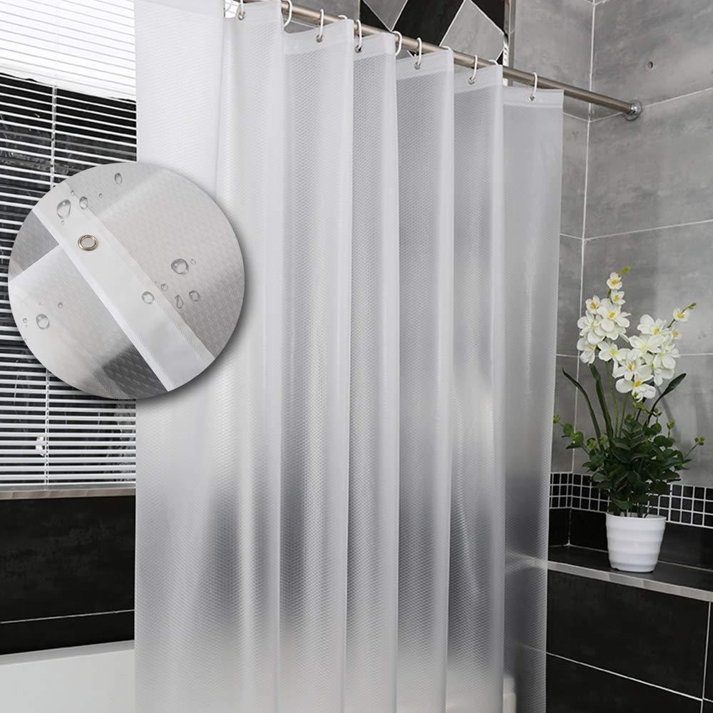 Yuclock PEVA Shower Curtain Waterproof Thickening Anti-Moisture Bathroom Curtain Bathroom Partition Curtain, Prismatic Lattice, 180X220cm, Include Hook