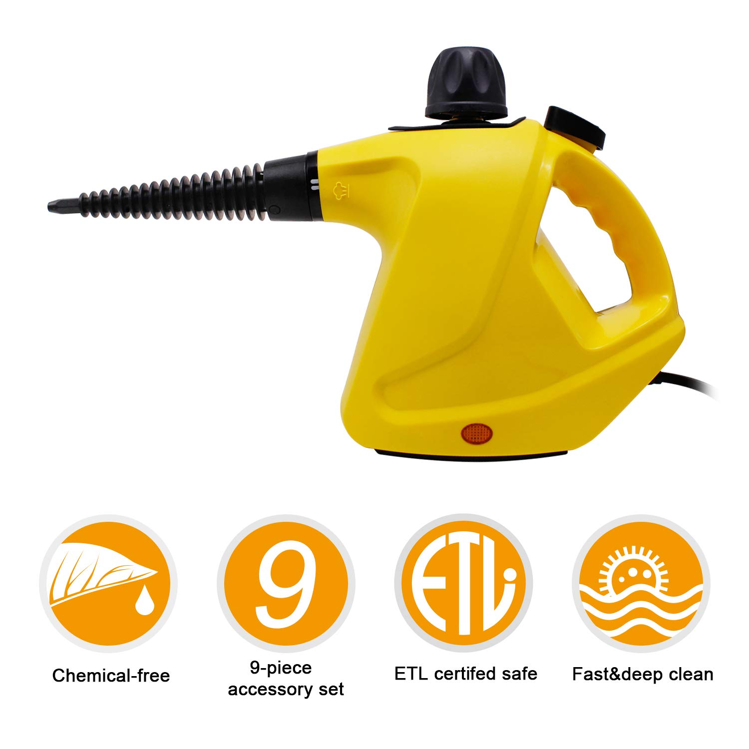 SCYL Color Your Life Handheld Steam Cleaner, Pressurized Steam Cleaner Safety Lock, Powerful Multi-Purpose Steam Cleaner 9 Accessories for Home, Auto, Patio, More,
