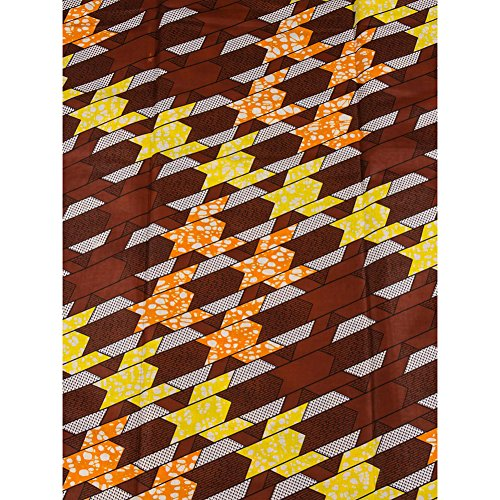 Premier Fashion African Super Deluxe Wax Chocolate Geometry Pattern (Super Deluxe Lace)