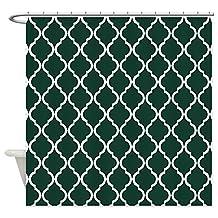 CafePress - Dark Green Moroccan Lattice - Decorative Fabric Shower Curtain