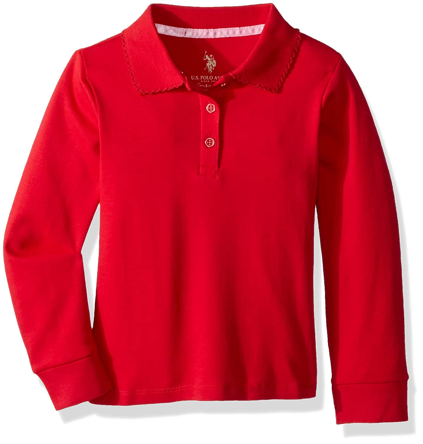 U.S. Polo Assn. Girls' Long Sleeve Polo Shirt Picot Trim 7519