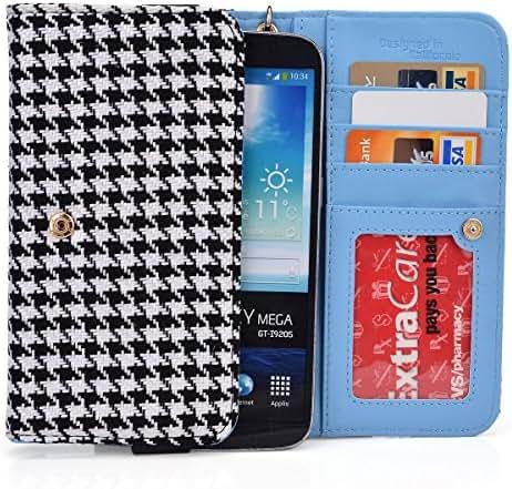 EnvyDeal Black Houndstooth Phone Wallet Case for Samsung Galaxy On7, J7, A8, Mega 2, Mega 5.8 6.3 Smartphone Phablet