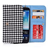 EnvyDeal Black Houndstooth Phone Wallet Case for Samsung Galaxy Note 8 S8+ A7 A9 (2016), A8, Galaxy S7 Plus 6.0', S6 edge+ Plus, Note 5 4 3 2 Smartphone Phablet